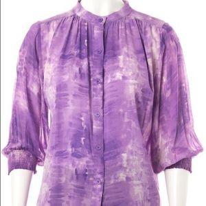 ALICE + OLIVIA Purple Tie Dye Silk Blouse NEW